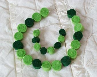 Handmade felt necklace with matching bracelet