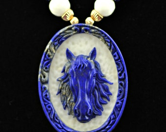 Lapis Lazuli Carved Horse  Faceted White Jade 14K GF Necklace
