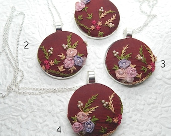 Dark wine pearlized embroidered necklace, floral necklace for parties, wear to garden function, occasion fready
