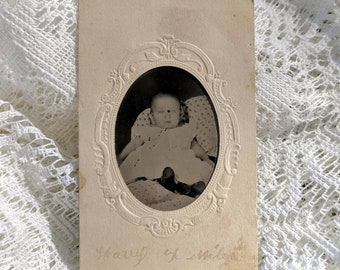 Paper framed Hidden mother tintype photo adorable baby being held by mom. Identified. Harry.