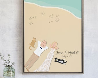 Beach Wedding Guest Book with Couple Portrait State
