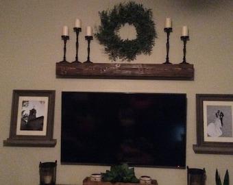 "Fireplace mantel 60"" Long x 5.5"" Tall x 7.5"" Deep-Mantle Shelf-Wood Mantle-Rustic Mantle-Mantle Beam-Floating Mantel Shelf-Wooden Shelves"