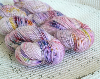 Easter Bonnet - Hand Dyed Speckled Sock Yarn - Superwash Merino Nylon - Pale Pink Lilac Yellow Green Blue