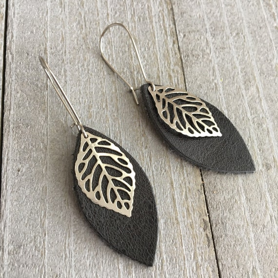 Leather Leaf Earrings - Pewter Gray Leather Petal with Metal Leaf Charm  - Small Lightweight Minimalist Everyday Dangle Earrings