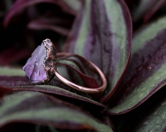 Amethyst   Amethyst Ring   Large Amethyst Ring   Copper Ring   Electroformed Ring   February Birthstone   Ready-To-Ship