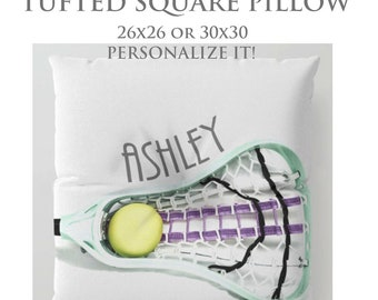 STUFFED Pillow-Custom Pillow-Lacrosse Floor Pillow-Sports Decor-Round Floor Pillow-Lacrosse Decor-Floor Cushion-Seating-Girls Room Decor