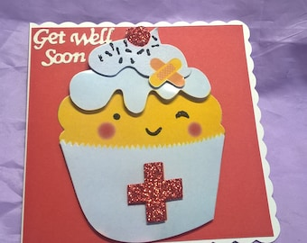 cupcake get well card with added sparkle