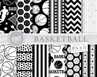BASKETBALL Digital Paper / Basketball Party Printables / 8 1/2 x 11 Black and White Basketball Patterns, Sports Theme, Basketball Downloads