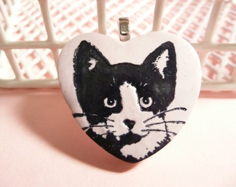 Cat Lover Gift, Tuxedo Cat Heart Pendant or Necklace, Pin or Magnet, Pink Jewelry, Kitty Heart Jewelry, polymer clay