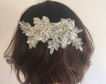 Bridal Headpiece - Crystal Bridal Hair Piece - Crystal and Pearl Bridal Headpiece - Bridal Hair Comb - Crystal and Pearl Wedding Hair Piece.