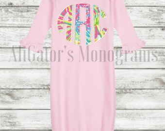 Lilly Pulitzer-Baby Girl Lilly Beaded Edge Circle Monogram-Coming Home Outfit Baby Gown-Monogrammed Baby Gown-Baby Girl Layette