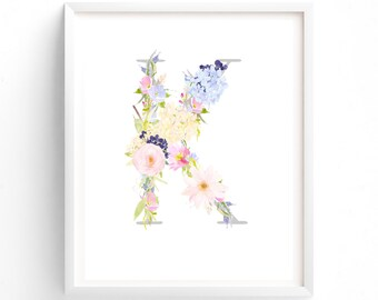 MULTI SIZES, Letter K, Pink and Blue Floral, Printable Letter Monogram, Nursery Art. Art Prints, Baby Girl Nursery, Wall art Prints