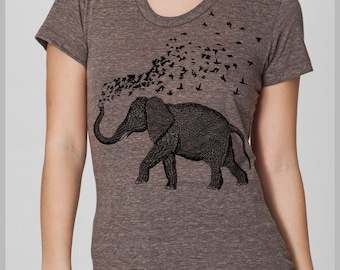 Womens Elephant Birds Parade T Shirt American Apparel Hand Drawn Hand Printed Tee s, m, l, xl  Full Spectrum Back to School trendy outfit