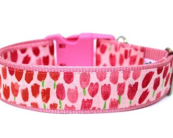 "Spring Dog Collar 1"" or 1.5"" Tulip Dog Collar Flower Dog Collar"