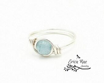 Aquamarine ring, blue ring, gemstone ring, beaded ring, wire wrapped ring, wire wrap, silver ring, boho ring, beaded ring,  boho jewelry