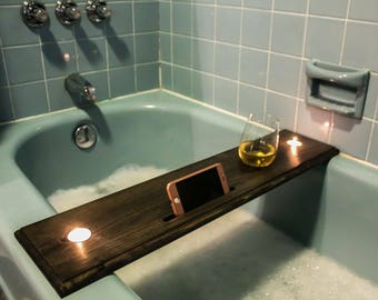 Wooden Bathtub Table/Caddy/Tray That Holds Stemless Or Stemmed Wine Glass,  Beer, Drink, Candles, And Phone/iPad/Kindle, Bath Table, Tray