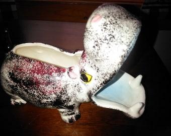 Vintage Hippo Wallet Caddy or Hippopotamus Dresser Organizer