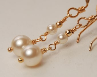 Delicate Gold Pearl Earrings, Bridal Earring, Bridesmaid Jewelry, Bridesmaid Gift, Swarovski Ivory Pearl in 14K Gold Filled, Bride Earring