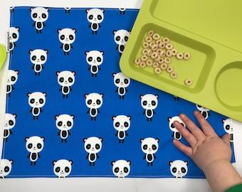 Blue Panda Placemat, Waterproof Placemat, Kawaii Kids, Panda Bear Gift Under 15, Large Placemat, Cotton Placemat, Place Mat, Washable Mat