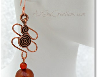 Antiqued Copper Boho Earrings