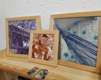 Mirror Art, netting, machine embroidery