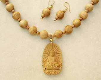 Sweet Buddha Necklace, Intricately Hand-Carved Boxwood Buddha & Scented Sandalwood Beads, Necklace Set by SandraDesigns