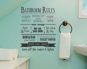 Wall Quote Decal Bathroom Rules Typography Subway Art Decor Whimsical Vinyl Decal
