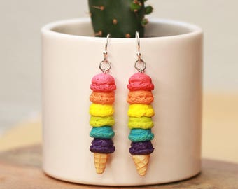 Rainbow Ice Cream Earrings - food earrings, food jewelry, ice cream earrings, birthday gift, valentine gift, colorful earrings, girly