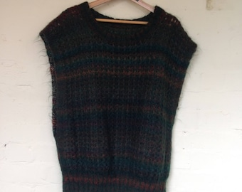 Vintage 70s green & brown knitted vest/ tank top - Large