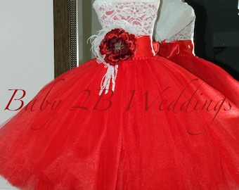 Red Rose Dress Red Dress Lace Dress Tulle dress Wedding Dress Birthday Dress Toddler Tutu  Dress  Rose Dress Girls Dress