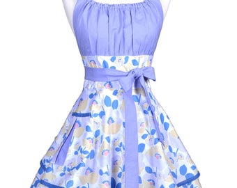 Flirty Chic Retro Apron - Womens Sexy Lavender Floral Vintage Style Pinup Apron with Personalized Monogram Option (DM)