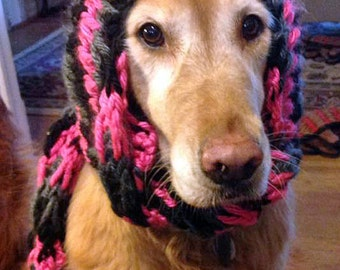 Winter Dog Hat with Attached Scarf for Medium to Large Dogs - Knit Pattern