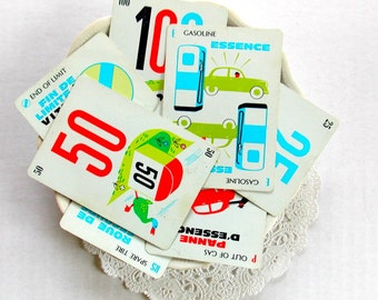 Vintage Mille Bornes Cards / Lot of 10 / French Cards / Junk Journal / Daily Planner