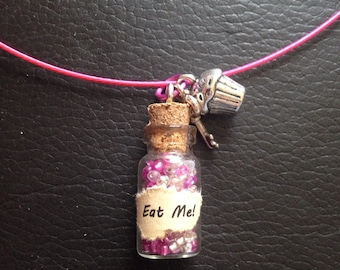 Alice in wonderland bottle charm necklace