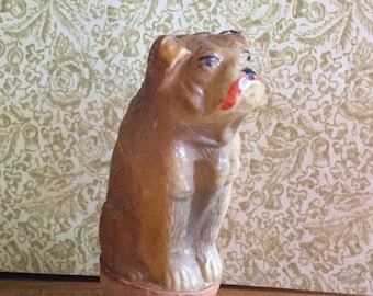 1910 Antique Celluloid Bulldog Roly Poly Penny Toy, Rare