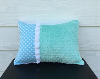 aqua cushion cover OCEAN BUBBLES beach cottage chic 12 X 16 inches turquoise seaside pillow shabby style nautical pillow