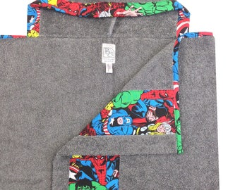 Super Hero Hooded Towel Gray Red Blue Green
