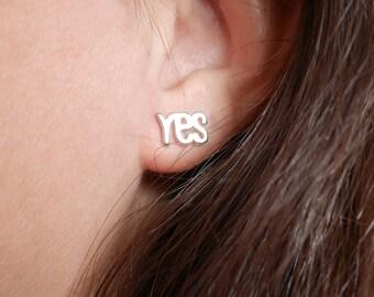 Sterling silver YES NO stud earrings - letter earrings - tiny stud earrings - silver stud - girl earrings - Tiny silver Yes & No - original