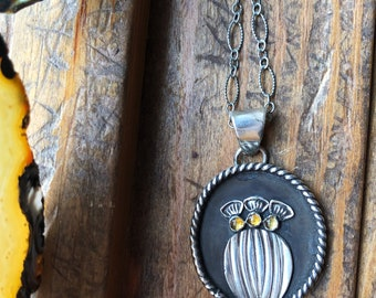 Citrine Barrel Cactus - Cactus Blossom Collection - Sterling Silver Necklace