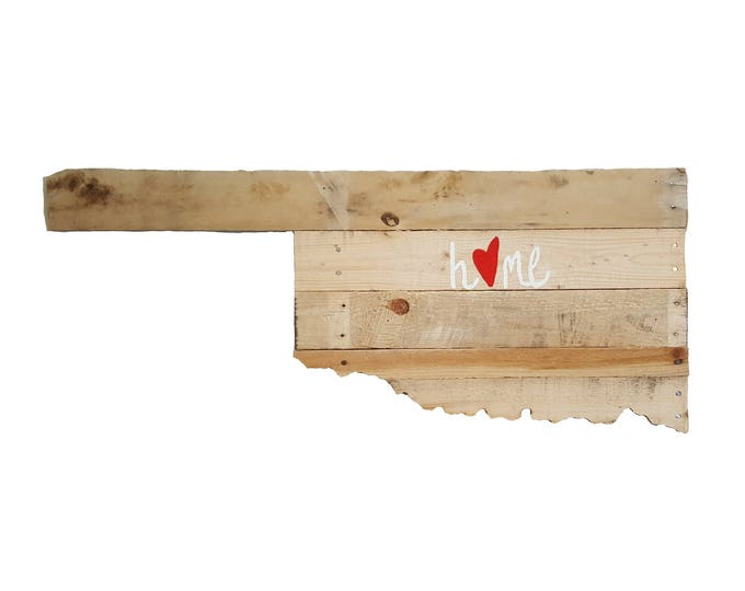 """Wooden Oklahoma State Sign, """"Home"""" Sign, Reclaimed Wood, Oklahoma, Handmade"""
