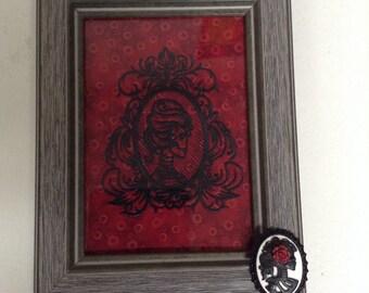 Framed Embroidered Sugar Skull Dia de Los Muertos