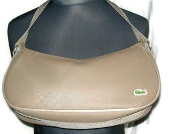 90s Vintage LACOSTE Bag Original Dark Nougat Handbag Lacoste Bag PVC Bag Taupe Shoulder Bag Designer Bag Gift For Her