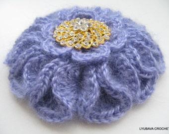 Crochet PATTERN, Crochet Brooch Pattern, Crochet Flower Pattern, 3d Crochet Flower DIY Gift Instant Download PDF Pattern #86 Lyubava Crochet