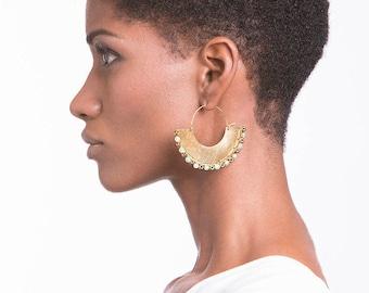 Boho earrings, Boho hoops earrings, African earrings, Boho jewelry, Chic earrings, Stone earrings, Green jade earrings, Red boho earrings