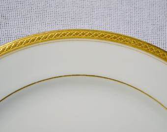 Vintage Haviland Limoges Salad Plate Wright Tyndale Van Roden White Gold Band France Replacement PanchosPorch