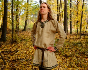 Linen shirt with selvedge,Early Medieval shirt, Viking longsleeves  Birka, Historical Pattern , for Reenactors, Viking Costume
