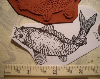 KOI fish, gold fish rubber stamp  un-mounted scrapbooking rubber stamping