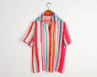 Summer Blouse Striped Rainbow Blouse Lightweight Blouse Blouse Short Sleeves Blouse Button up Shirt Oversized Blouse Size Medium