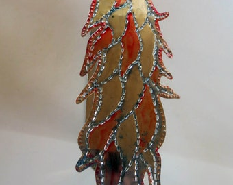 Vintage Punched Tin Colorful Chile Ristra Wall Sconce Candle Holder - Mexico