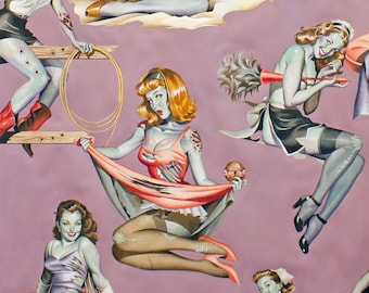 Beauties and Brains in Mauve Background Alexander Henry 100% Cotton Halloween Zombies Females Pin Ups